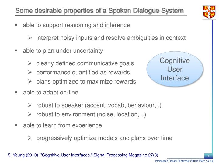 Some desirable properties of a Spoken Dialogue System