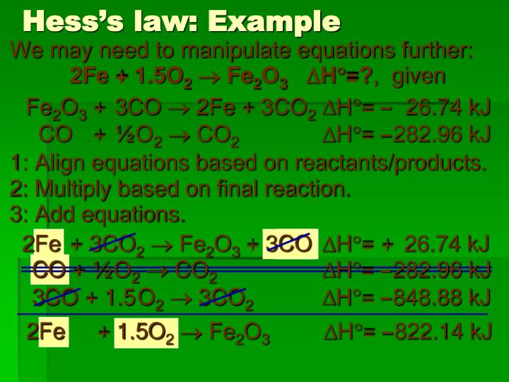 Hess's law: Example