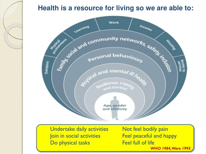 Health is a resource for living so we are able to: