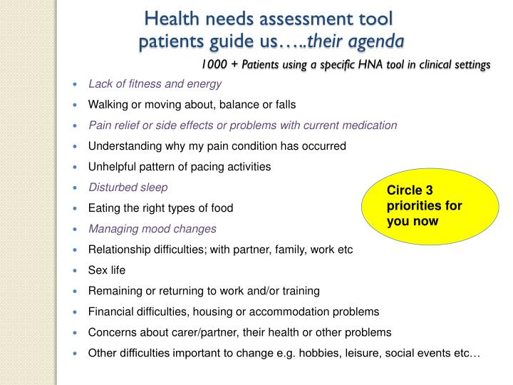 Health needs assessment tool