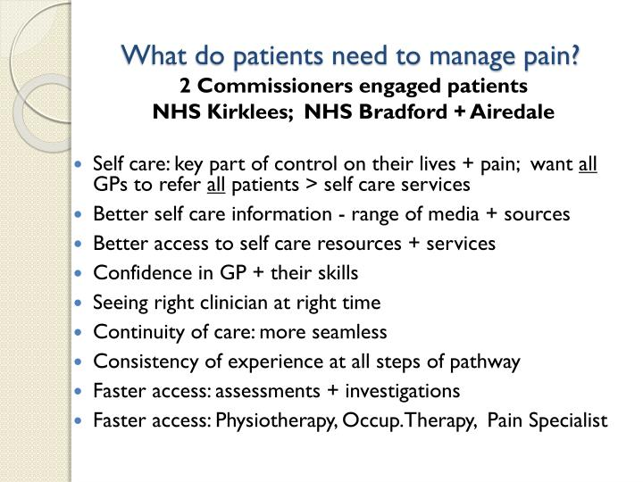 What do patients need to manage pain?