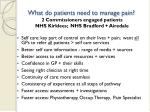 what do patients need to manage pain