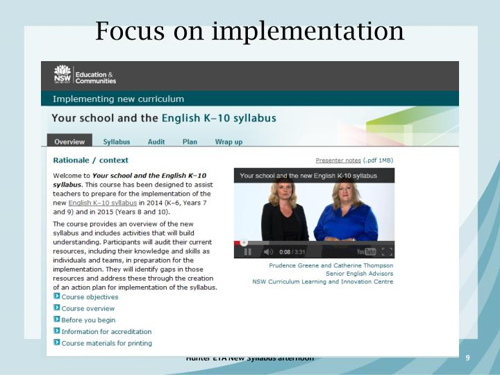 Focus on implementation