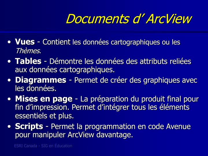 Documents d' ArcView