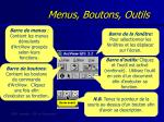 menus boutons outils