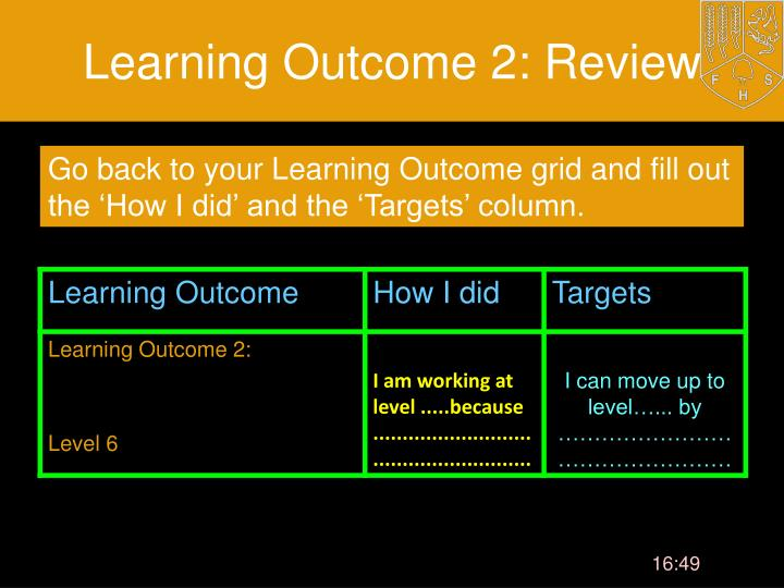 Learning Outcome 2: Review
