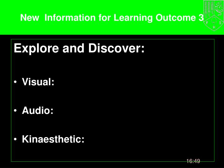 New  Information for Learning Outcome 3