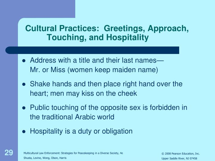 Cultural Practices:  Greetings, Approach,