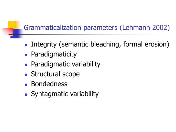 Grammaticalization parameters (Lehmann 2002)