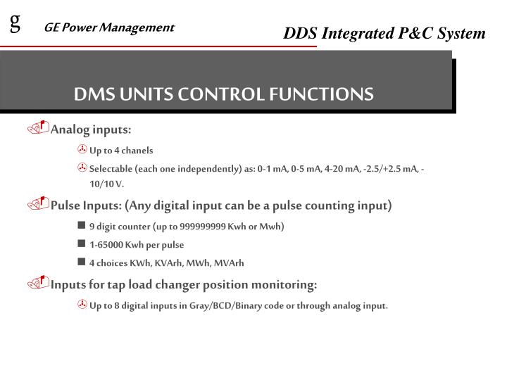 DMS UNITS CONTROL FUNCTIONS
