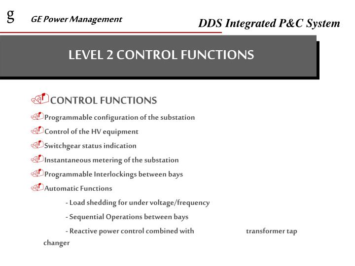 LEVEL 2 CONTROL FUNCTIONS