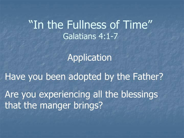 """In the Fullness of Time"""