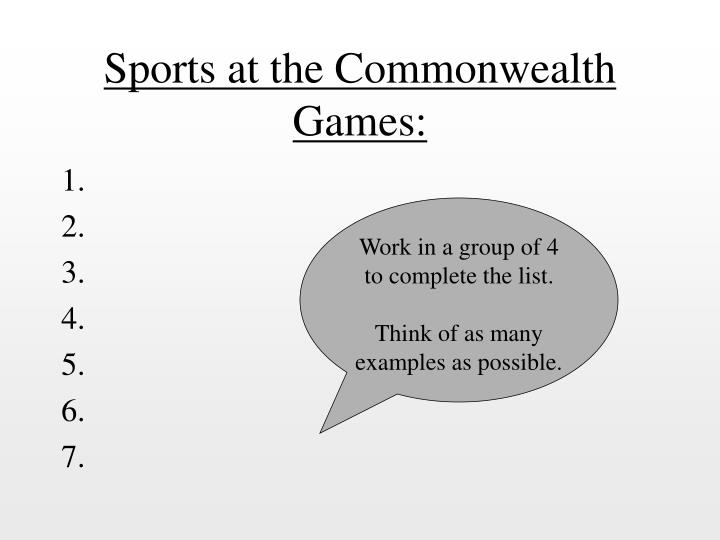 Sports at the Commonwealth Games:
