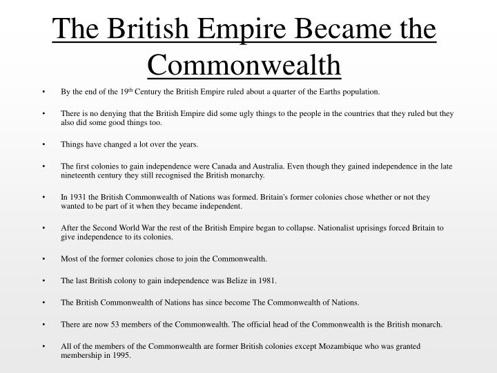 The British Empire Became the Commonwealth