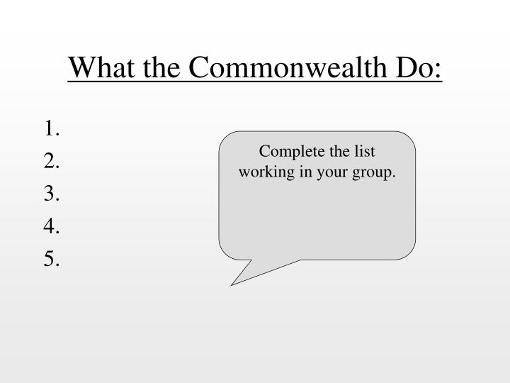 What the Commonwealth Do: