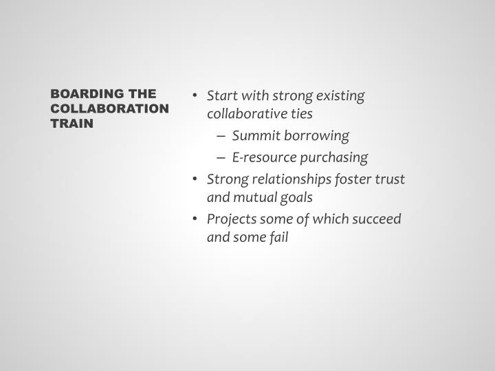 Start with strong existing collaborative ties