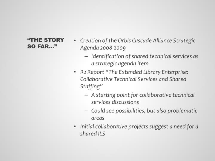 Creation of the Orbis Cascade Alliance Strategic Agenda 2008-2009