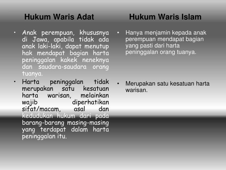 Anak perempuan, khususnya di Jawa, apabila tidak ada anak laki-laki, dapat menutup hak mendapat bagian harta peninggalan kakek neneknya