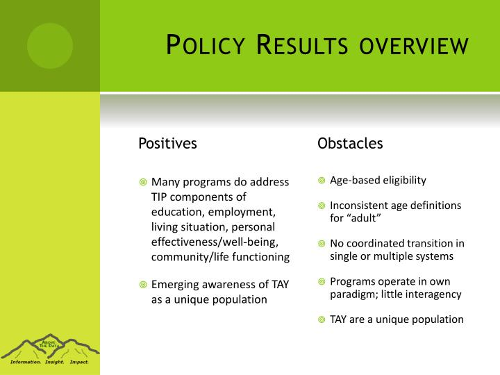 Policy Results overview