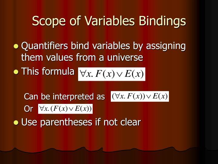 Scope of Variables Bindings