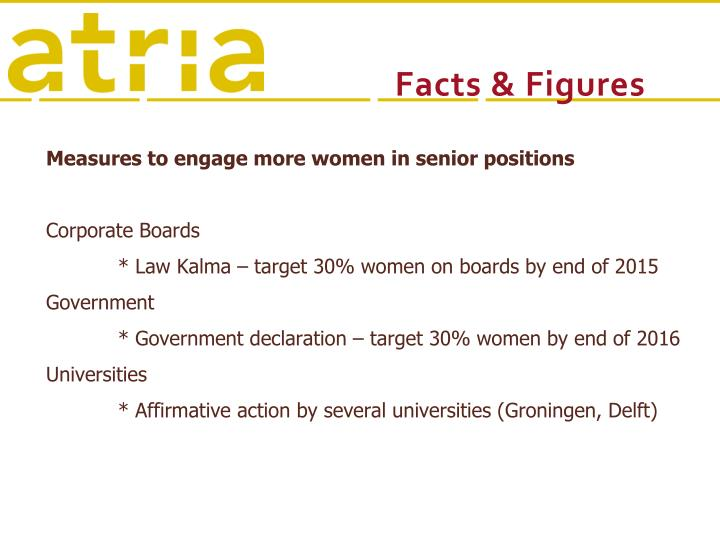 Measures to engage more women in senior positions