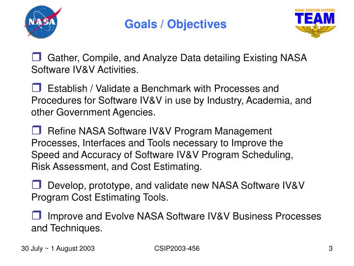 Gather, Compile, and Analyze Data detailing Existing NASA Software IV&V Activities.