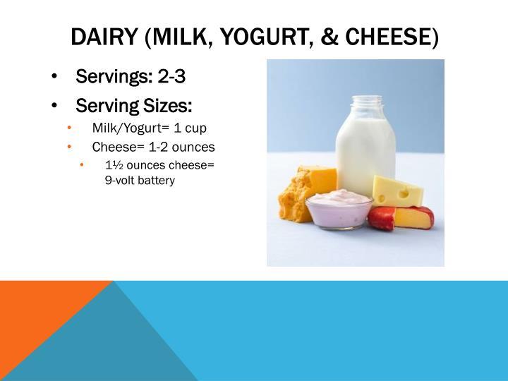 Dairy (milk, yogurt, & cheese)