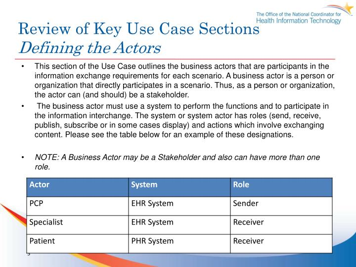 Review of Key Use Case Sections