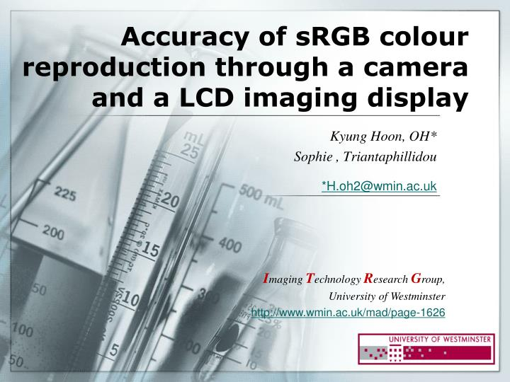 Accuracy of srgb colour reproduction through a camera and a lcd imaging display