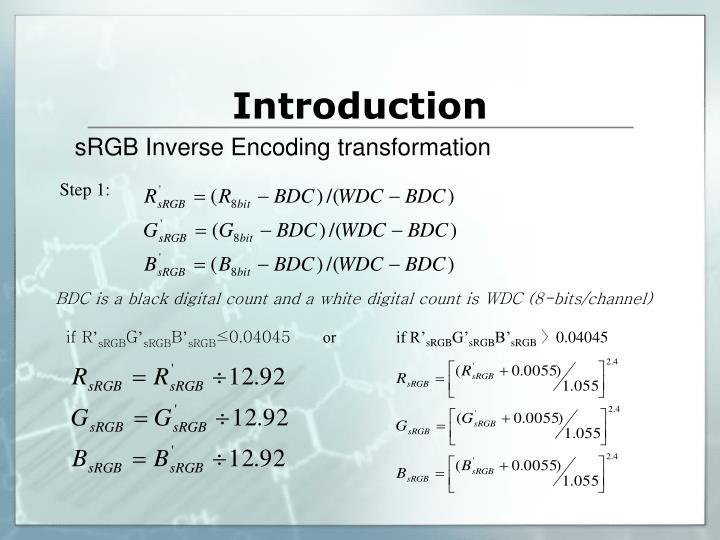 sRGB Inverse Encoding transformation