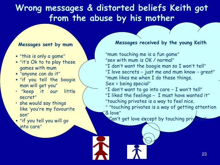 Wrong messages & distorted beliefs Keith got from the abuse by his mother
