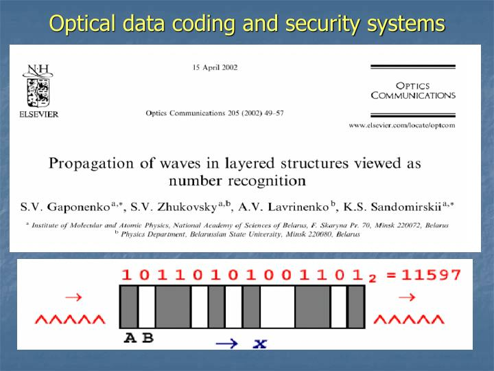 Optical data coding and security systems