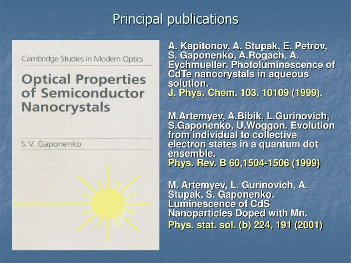 Principal publications