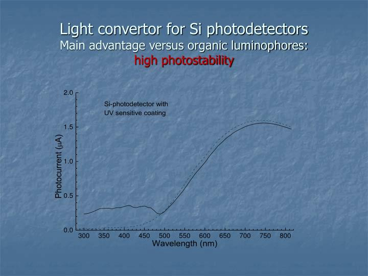 Light convertor for Si photodetectors