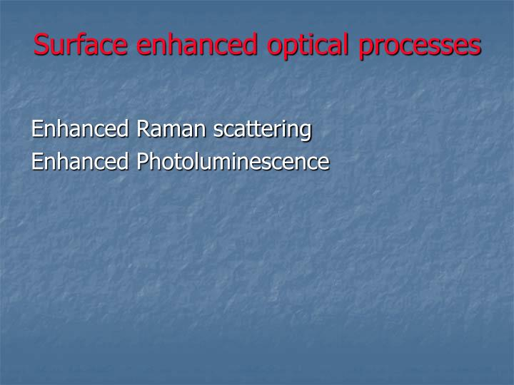 Surface enhanced optical processes
