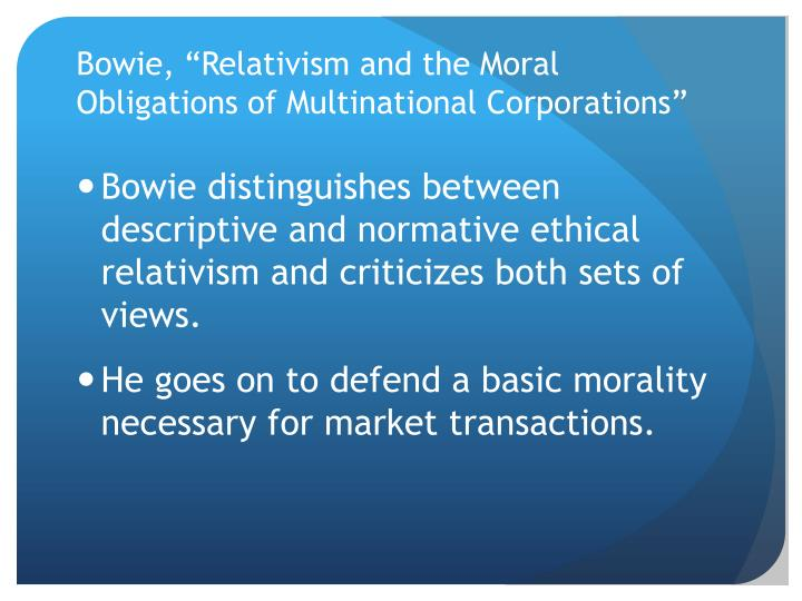 is it moral for corporations to Moral standards guide the behavior of everyone, including the corporations knowledge and freewill are the main requirement to determine if certain act is immoral or immoral.