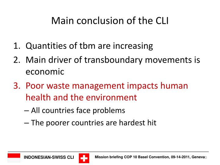 Main conclusion of the CLI