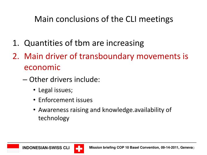 Main conclusions of the CLI meetings
