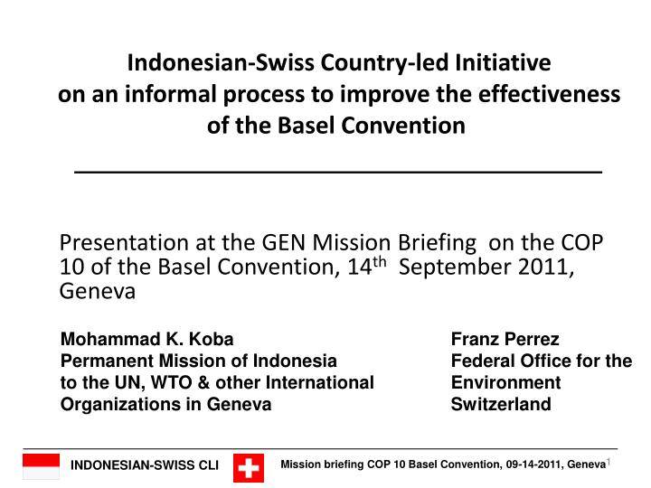 Indonesian-Swiss Country-led Initiative