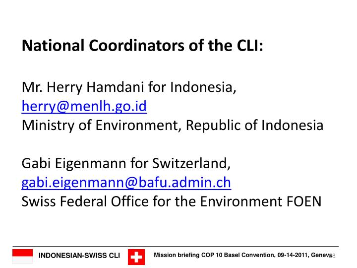 National Coordinators of the CLI: