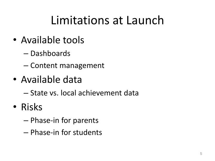 Limitations at Launch