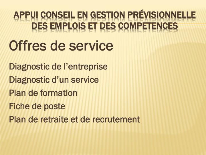 Offres de service