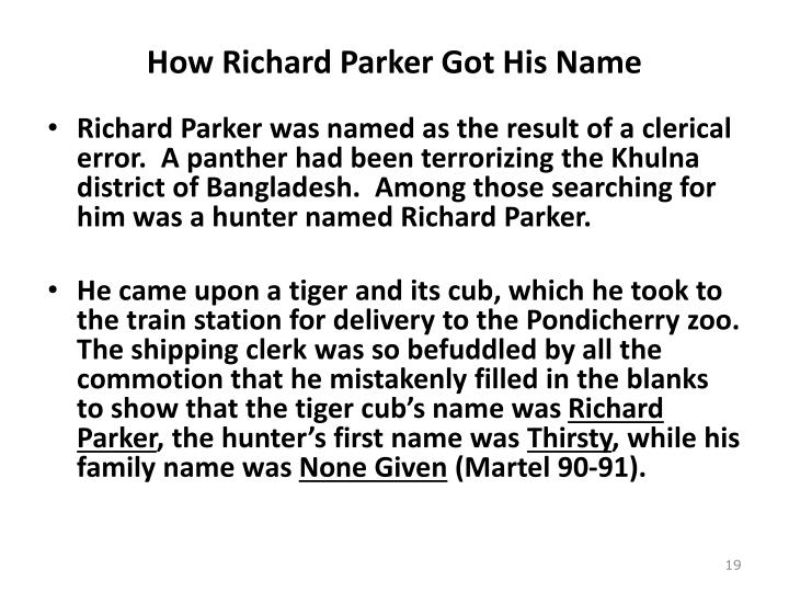 How Richard Parker Got His Name