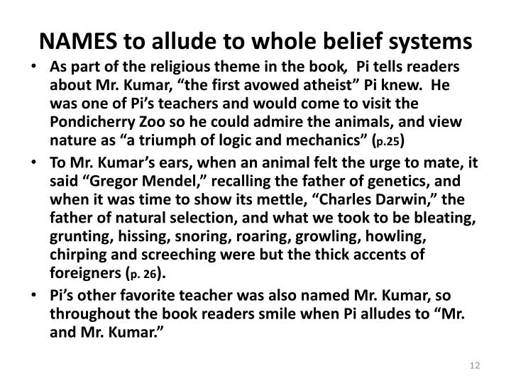 NAMES to allude to whole belief systems
