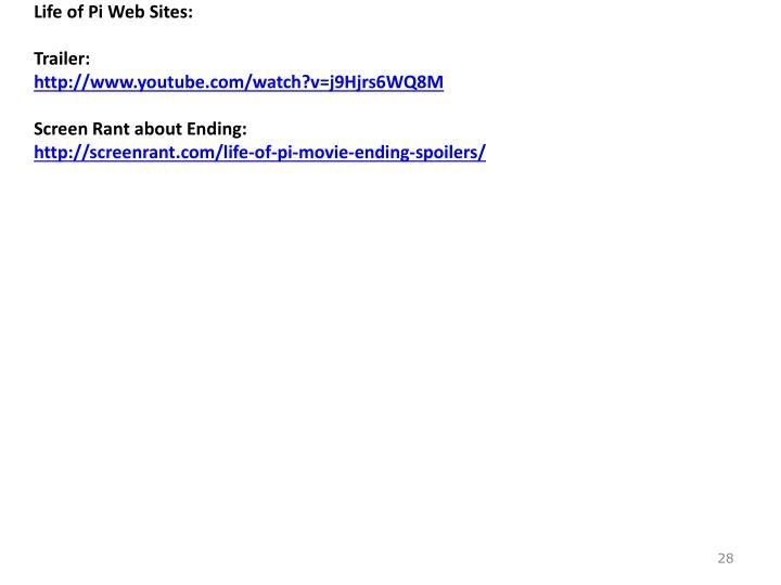 Life of Pi Web Sites: