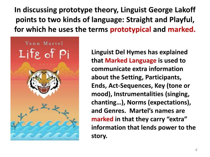 In discussing prototype theory, Linguist George Lakoff points to two kinds of language: Straight and Playful, for which he uses the terms