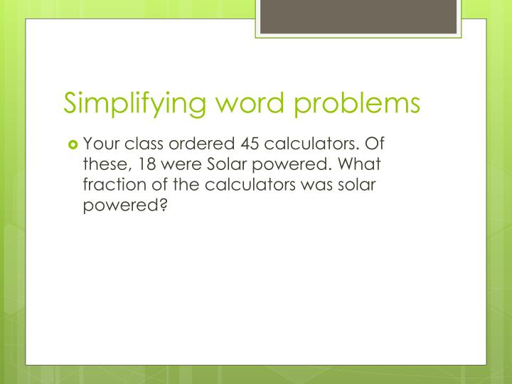 Simplifying word problems