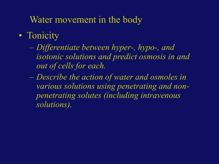 Water movement in the body