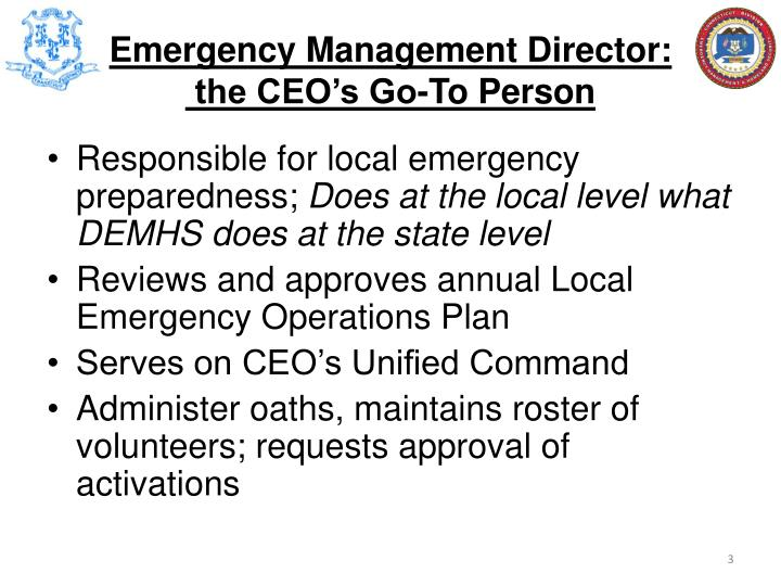 Emergency management director the ceo s go to person