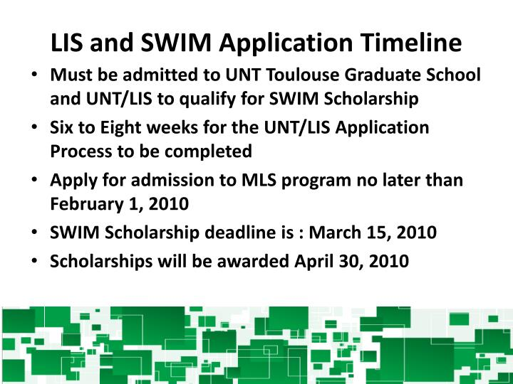 LIS and SWIM Application Timeline